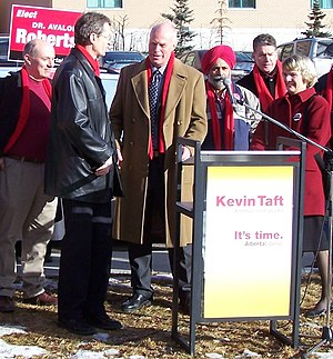 Alberta Liberal Party - Liberal candidates at a press conference in Calgary during the 2008 election (left-to-right):  Dave Taylor, David Swann, Kevin Taft, Darshan Kang, Harry B. Chase, and Avalon Roberts