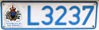Transport in San Marino - Typical Sammarinese motor car number plate