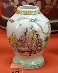 Tea canister with the Four Doctors, Jingdezhen, China, 1736-1740 - Winterthur Museum - DSC01581.JPG
