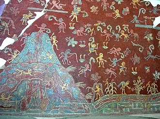 Great Goddess of Teotihuacan - A portion of the actual mural from the Tepantitla compound which appears under the Great Goddess portrait.