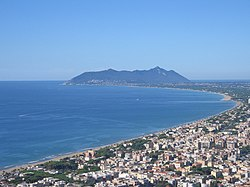 Aerial view of Terracina with the Circeo promontory in the background