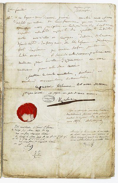 Testament de Napoléon Ier. Page 5 - Archives Nationales - AE-I-13-21a.jpg