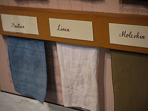 Fustian - Textile samples: Fustian, Linen, and Moleskin.