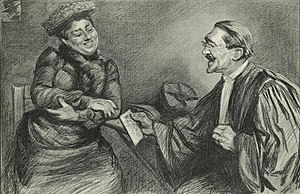 Thérèse Humbert - Humbert and her lawyer, Henri-Robert, from a drawing by French illustrator Charles Paul Renouard circa 1903