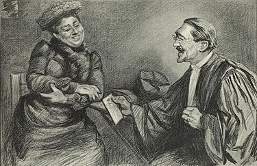 Humbert and her lawyer, Henri-Robert, from a drawing by French illustrator Paul Renouard circa 1903 Therese Humbert et Maitre Henri-Robert-1903.jpg