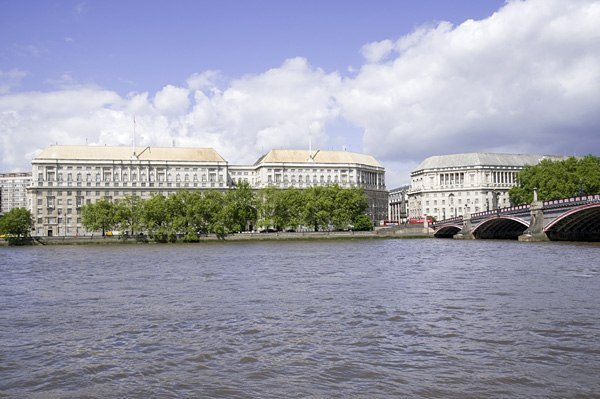 Thames House and Lambeth Bridge, looking across the river