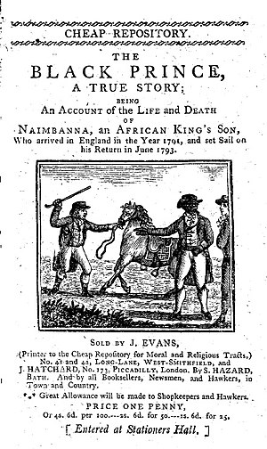 Cheap Repository Tracts - The Black Prince, printed by John Evans in 1798.