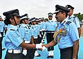 The Chief of the Air Staff, Air Chief Marshal Arup Raha congratulating the newly commissioned IAF Officer during Graduation Parade, at Air Force Academy, Dundigal, in Hyderabad on June 21, 2014.jpg