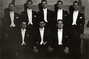 The Society of Orpheus and Bacchus - The first SOBs: back row: Comly, Dodge, Waldradt, LeBar, Springer; front row: Schuederberg, Levy, Lucey