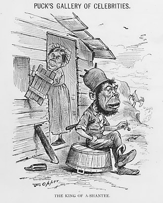 """Lace curtain and shanty Irish - 1882 cartoon by Frederick Opper, captioned """"The King of A-Shantee"""" (a pun on """"shanty"""" and """"Ashanti"""")"""