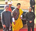 The King of Bhutan, His Majesty Jigme Khesar Namgyel Wangchuck with the President, Shri Pranab Mukherjee and the Prime Minister, Dr. Manmohan Singh, at the Ceremonial Reception, at Rashtrapati Bhavan, in New Delhi.jpg