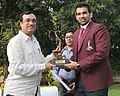 The Minister of State (Independent Charge) for Youth Affairs and Sports, Shri Ajay Maken presenting the Arjuna Award 2011 to Shri Zaheer Khan (Cricket), in New Delhi on October 03, 2011.jpg