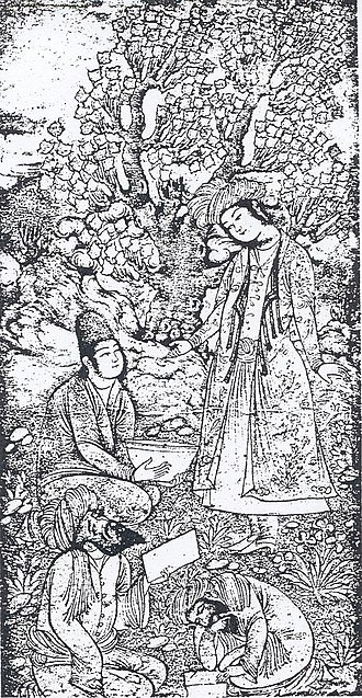 Wali - A drawing of The Two Poet Saints Hafez and Saadi Shirazi (ca. 17th century), thought to be executed by a certain Muhammad Qāsim