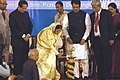 The President, Smt. Pratibha Devisingh Patil lighting the lamp to inaugurate the International Conference on Responsibility to the Future- Business, Peace, Sustainability, in Mumbai on June 26, 2008.jpg