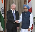 The Prime Minister, Dr. Manmohan Singh meeting the Governor General of Canada, Mr. David Johnston, in New Delhi on February 24, 2014.jpg
