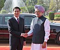 The Prime Minister, Dr. Manmohan Singh meeting the Prime Minister of Thailand, Mr. Abhisit Vejjajiva at his ceremonial reception, at Rashtrapati Bhawan, in New Delhi on April 05, 2011.jpg