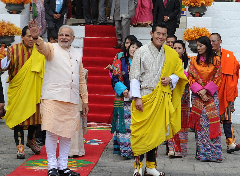 File:The Prime Minister, Shri Narendra Modi at the lunch hosted by the King of Bhutan, His Majesty Jigme Khesar Namgyel Wangchuck, in Thimphu, Bhutan on June 16, 2014.jpg
