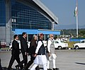The Prime Minister, Shri Narendra Modi being welcomed by the Governor of Uttarakhand, Dr. K.K. Paul and the Chief Minister of Uttarakhand, Shri Trivendra Singh Rawat, on his arrival, at Dehradun, Uttarakhand (3).jpg