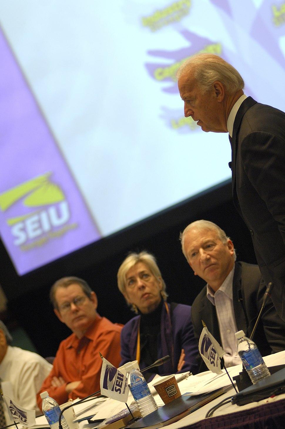 The SEIU family listens to Sen. Joe Biden