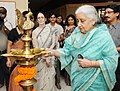 The Union Minister for Culture, Smt. Chandresh Kumari Katoch lighting the lamp to reopen the Gallery of Decorative Arts I at National Museum, in New Delhi on July 05, 2013.jpg
