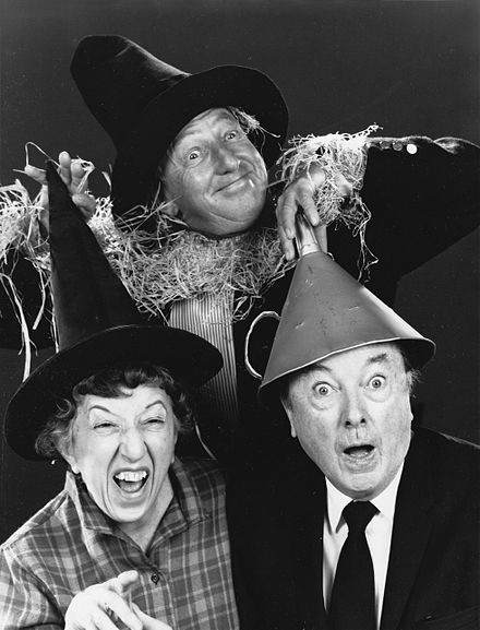Margaret Hamilton, Ray Bolger, and Jack Haley reunited in 1970, a year after the death of co-star Judy Garland The Wizard of Oz Ray Bolger Jack Haley Margaret Hamilton Reunited 1970 No 2.jpg