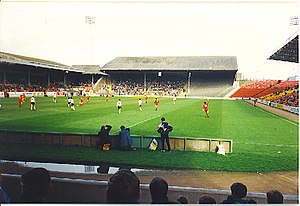 Pittodrie Stadium - Old Beach End stand, which was replaced by the Richard Donald Stand in 1993.