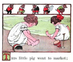"Girls playing ""This Little Pig""."