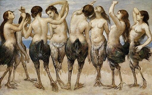 Thoma Acht tanzende Frauen in Vogelkörpern 1886