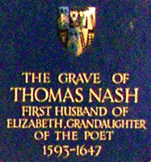Thomas Nash - Information board placed on Nash's grave.
