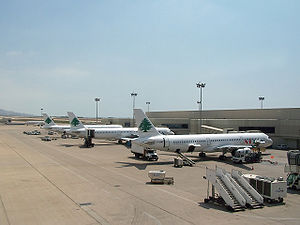 Beirut–Rafic Hariri International Airport - 3 MEA A321s parked at the west wing