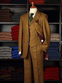 Three Piece (SBW) Tweed – Yellow-Olive-Taupe Windowpane Harris Tweed Suit.jpg