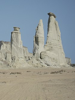 "Three pillars or locally known as ""saahe padag"", a beautiful and natural scenery over there in Pishukan, District Gwadar, Baluchistan. Pakistan. (cropped).JPG"