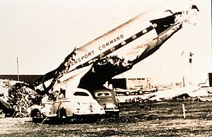 1948 Tinker Air Force Base tornadoes - Damage to airplanes and cars from the March 25, 1948, tornado