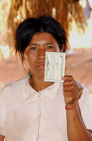 Voter ID laws - A Guarani-Kaiowá native Brazilian shows her voter identification, September 2006