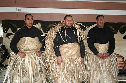 Tupouto`a-Lavaka (centre) in a mourning dress for his recently deceased father, king Taufa`ahau Tupou IV in 2006. He is flanked by his two sons, the new chiefs `Ulukalala (left) and Ata (right) Tonga princes.jpg
