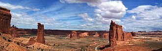 Arches National Park - A panoramic view of the Tower of Babel in the Courthouse Towers area