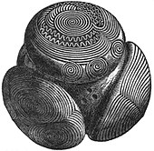 A black and white drawing of a complex structure resembling a sphere with several elaborately decorated part-spheres stuck to its surface. The decorations include sworls, circular shapes and wavy lines.