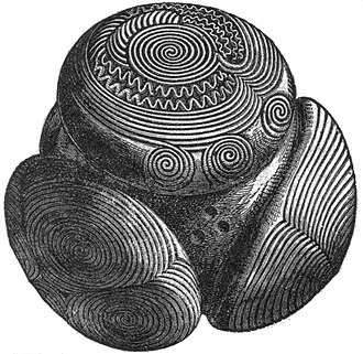 Prehistoric art in Scotland - An example of a carved stone ball from Towie in Aberdeenshire, dated from 3200–2500 BCE