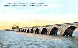 Long Key Bridge - Postcard of a train crossing Long Key Viaduct