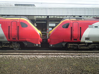 Bombardier Voyager family - Classes 220 (left) and 221 (right) at Durham, showing different bogie designs