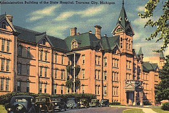 Traverse City State Hospital - Historic postcard of Building 50, circa 1930