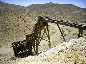Trestle and ore bin at the Eagleville Mine, Looking SW, Mineral County, NV, USA - panoramio.jpg