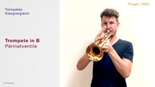 File: Trumpets with rotary valves in Bb, C, D, Eb, natural trumpets and flugelhorn in a sound comparison.webm