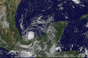 Tropical Storm Marco (2008) - Marco shortly after being upgraded to a tropical storm on October 6