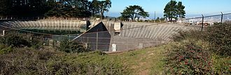San Francisco Fire Department Auxiliary Water Supply System - Twin Peaks Reservoir, at near-empty level.