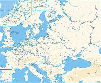 Waterway - The European waterway network, differentiating waterways by Class (I to VII)