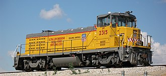 "Union Pacific Railroad - One of the 20 new 2,000 hp ""Green Goat"" locomotives manufactured for Union Pacific's ""Green"" Fleet by Railpower Technologies"