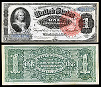 alt=$1 Silver Certificate, Series 1886, Fr.215, depicting Martha Washington
