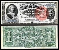 alt = $ 1 Certificado de Prata, Série 1886, Fr.215, representando Martha Washington
