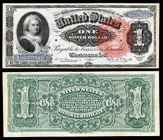 United States one-dollar bill - Series of 1886 $1 Silver Certificate featuring Martha Washington